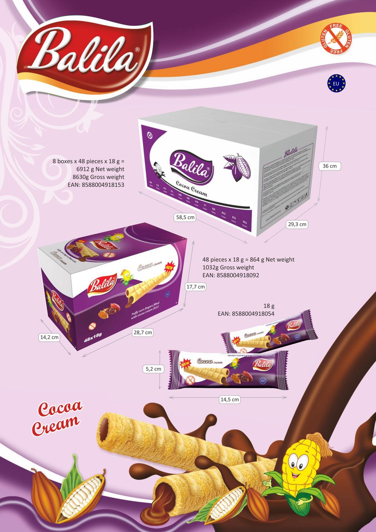 Kukuričné trubičky plnené kakaovým krémom