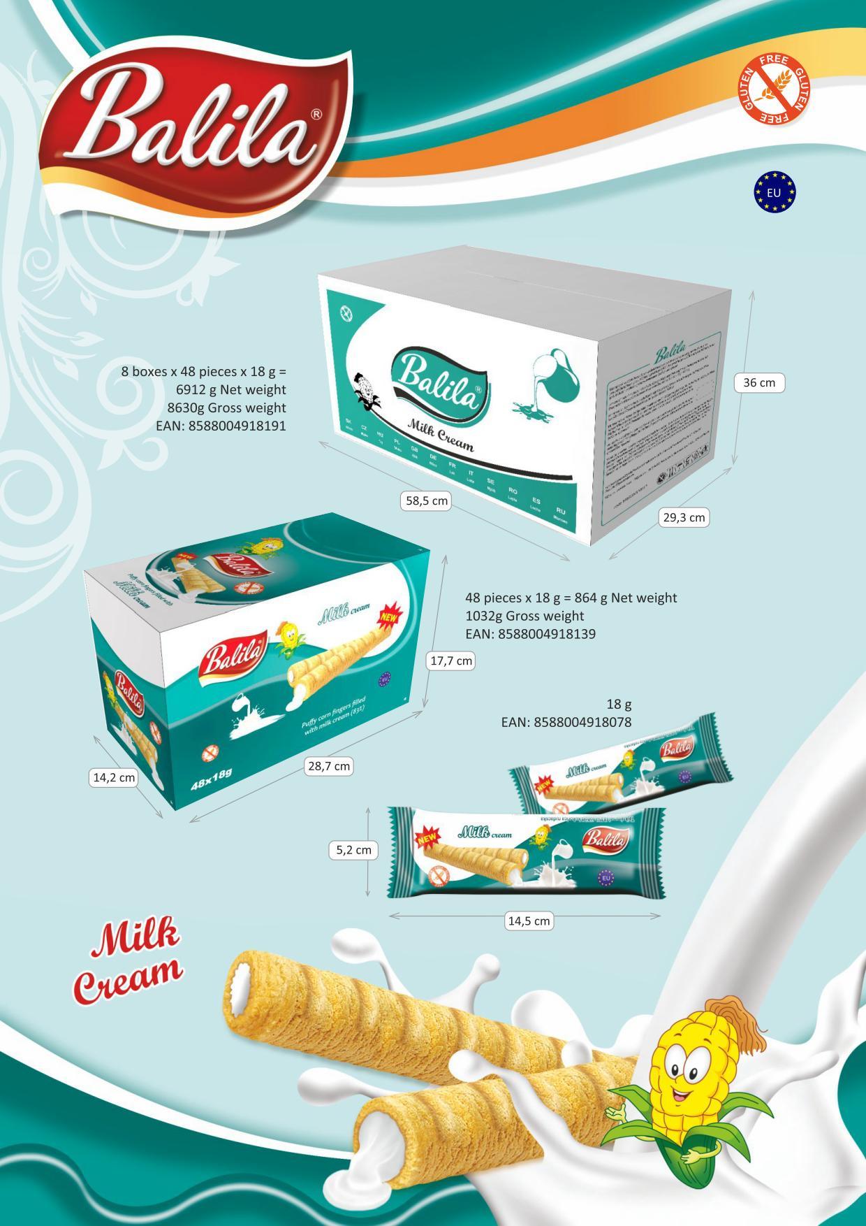 Kukuričné trubičky plnené mliečnym krémom